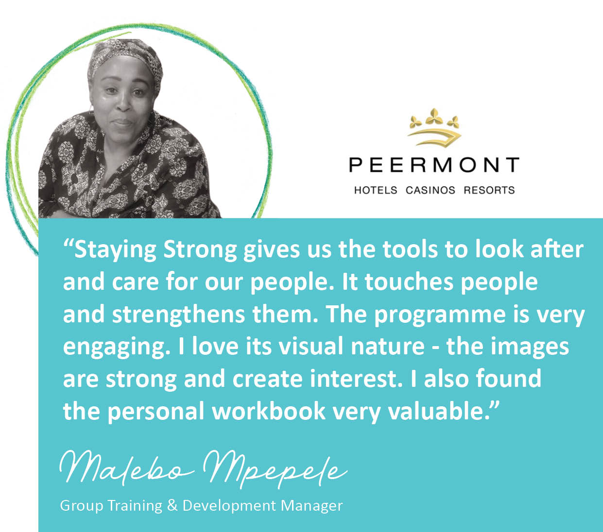 Malebo Mpepele of Peermont on Staying Strong's learning methodology